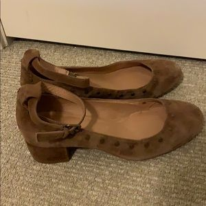 Madewell suede ankle wrap chunky heels